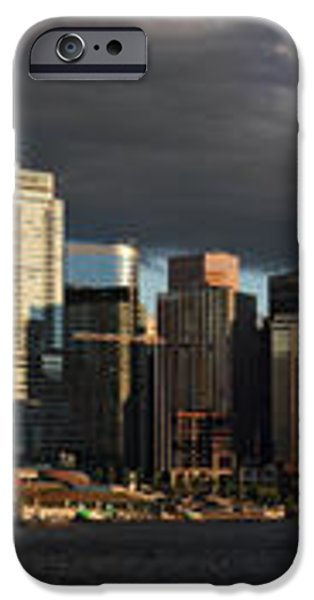 Vancouver City sunset Panorama from Stanley park iPhone Case by Pierre Leclerc Photography
