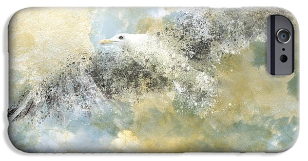 Decorative Digital Art iPhone Cases - Vanishing Seagull iPhone Case by Melanie Viola