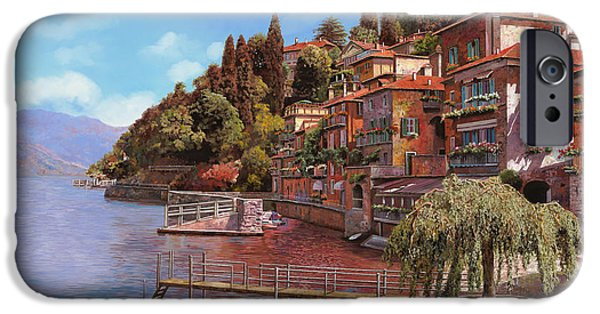 Village Paintings iPhone Cases - Varenna on Lake Como iPhone Case by Guido Borelli
