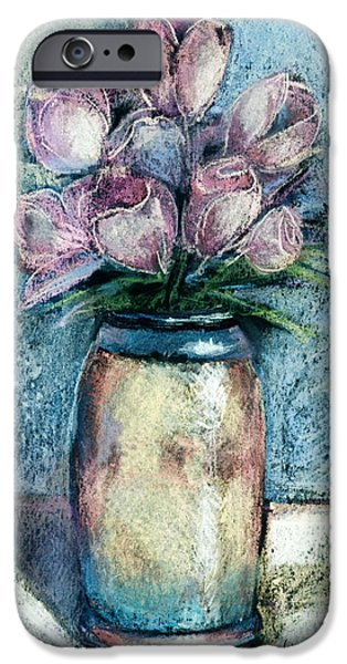 Floral Pastels iPhone Cases - Vase Of Pink Tulips iPhone Case by Arline Wagner