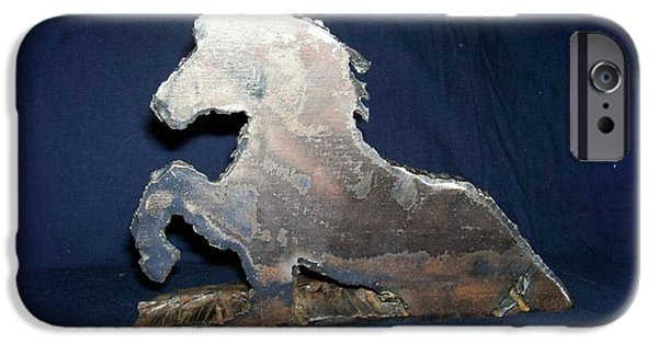 Horse Sculptures iPhone Cases - Vash in the Tall Grass iPhone Case by George Pedro