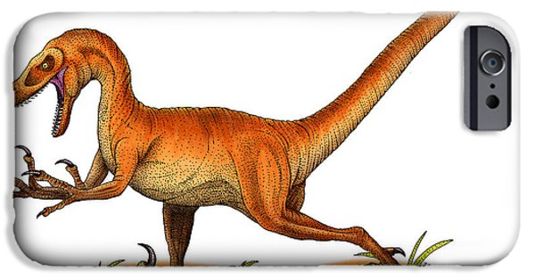 Fauna Drawings iPhone Cases - Velociraptor iPhone Case by Roger Hall and Photo Researchers