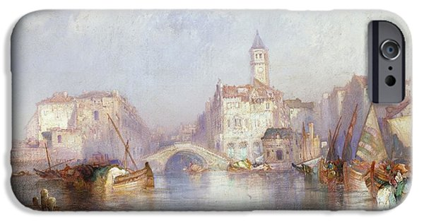 Venetian Canals iPhone Cases - Venetian Canal iPhone Case by Thomas Moran