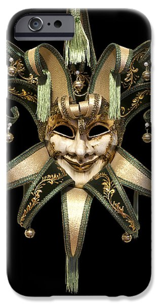 Cut-outs iPhone Cases - Venetian mask iPhone Case by Fabrizio Troiani