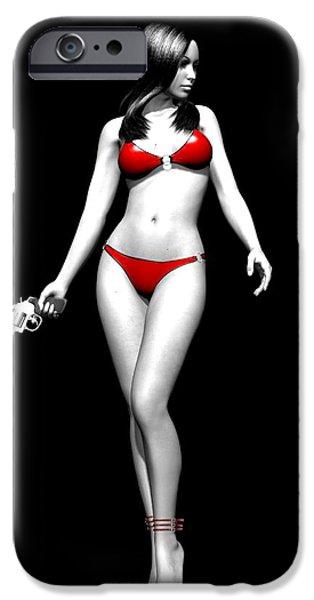 Female Body Digital Art iPhone Cases - Vengeful Mood iPhone Case by Alexander Butler