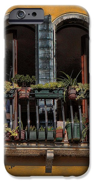 Venetian Canals iPhone Cases - Venice Balcony iPhone Case by Tom Prendergast