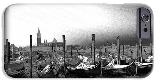 Canoe iPhone Cases - Venice gondolas black and white iPhone Case by Rebecca Margraf