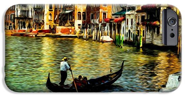 Built Structure Digital Art iPhone Cases - Venice Gondolas iPhone Case by Sabine Jacobs