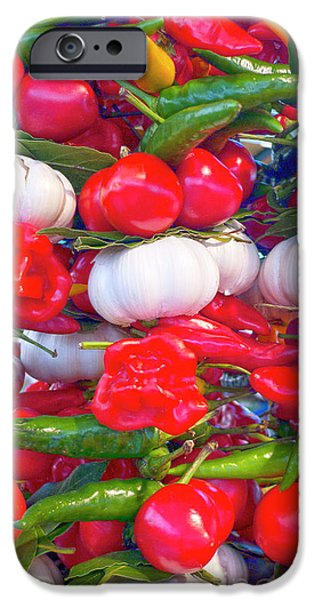 Hot Peppers iPhone Cases - Venice market goodies iPhone Case by Heiko Koehrer-Wagner