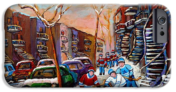 Hockey Paintings iPhone Cases - Verdun Montreal Hockey Game Near Winding Staircases and Row Houses Montreal Winter Scene iPhone Case by Carole Spandau