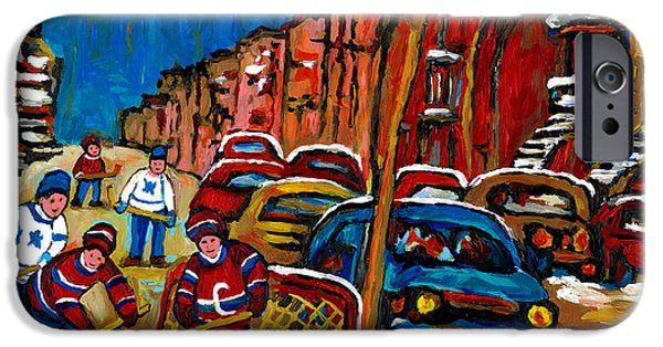 Hockey Paintings iPhone Cases - Verdun Rowhouses With Hockey - Paintings Of Verdun Montreal Street Scenes In Winter iPhone Case by Carole Spandau