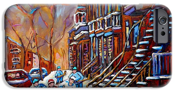 Montreal Artist Paints Verdun Street Scenes iPhone Cases - Verdun Street Scene Hockey Game Near Winding Staircases Vintage Montreal City Scene iPhone Case by Carole Spandau
