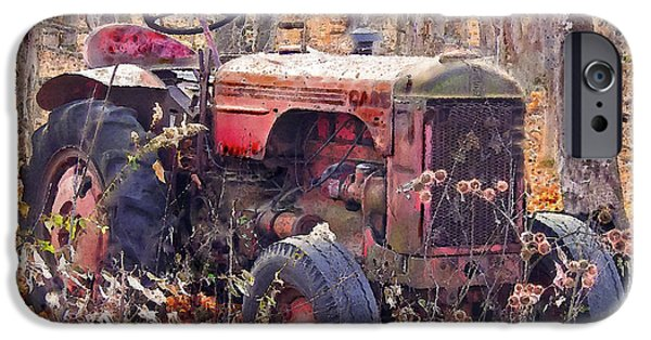 Machinery iPhone Cases - Vermont Farm Antique Tractor  iPhone Case by  Bob and Nadine Johnston