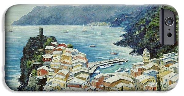 Landscape. Scenic iPhone Cases - Vernazza Cinque Terre Italy iPhone Case by Marilyn Dunlap