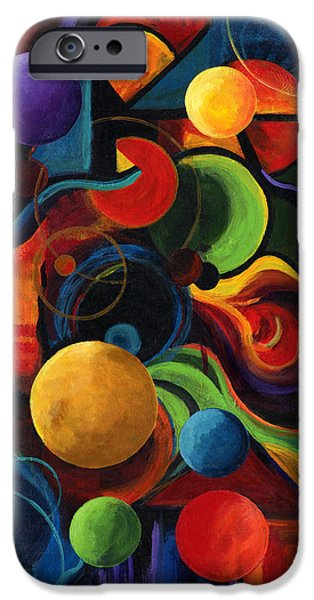 Prismatic Paintings iPhone Cases - Vertical Synergy iPhone Case by Laura Swink