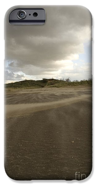 Best Sellers -  - Turbulent Skies iPhone Cases - Vertical view of windswept sand beach with large cloud formation iPhone Case by Christopher Purcell