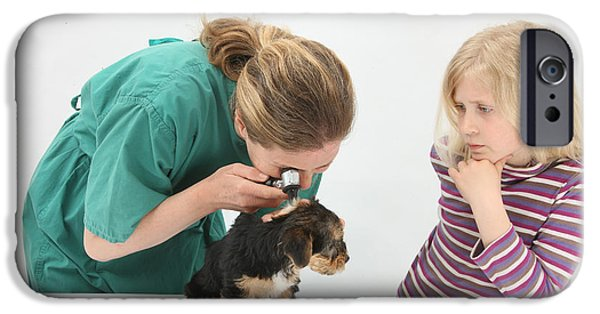 Pet Care iPhone Cases - Vet Using An Otoscope To Examine A Pups iPhone Case by Mark Taylor