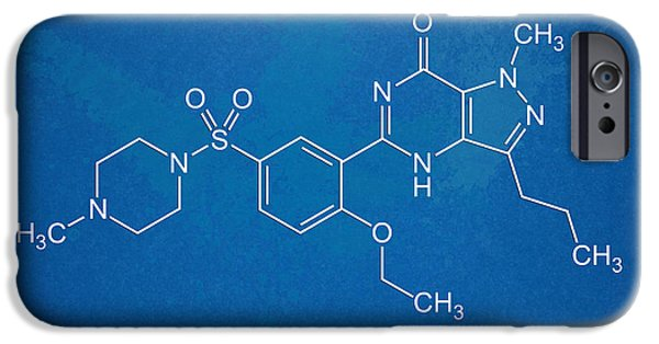 The Hills iPhone Cases - Viagra Molecular Structure Blueprint iPhone Case by Nikki Marie Smith