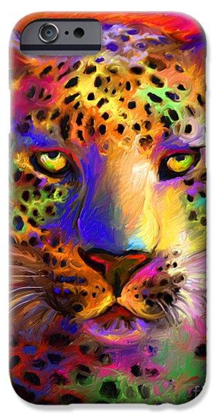 Pet Digital Art iPhone Cases - Vibrant Leopard Painting iPhone Case by Svetlana Novikova