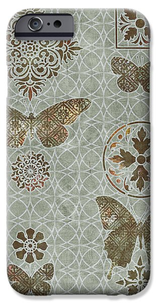 Carpet iPhone Cases - Victorian Deco Sage iPhone Case by JQ Licensing