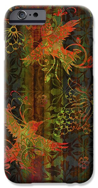 Carpet iPhone Cases - Victorian Humming Bird 3 iPhone Case by JQ Licensing