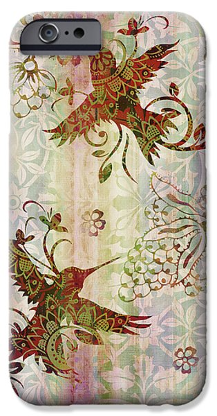 Carpet iPhone Cases - Victorian Humming Bird Pink iPhone Case by JQ Licensing