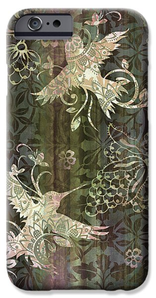 Carpet iPhone Cases - Victorian Hummingbird Green iPhone Case by JQ Licensing