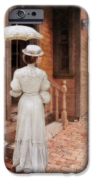 Young Photographs iPhone Cases - Victorian Lady at Train Station iPhone Case by Jill Battaglia