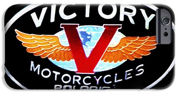 Victory iPhone Cases - Victory Motorcycles Emblem iPhone Case by Bill Cannon