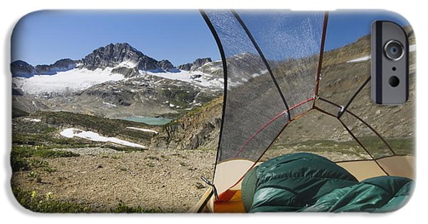 Sleeping Places iPhone Cases - View From Tent Of Russell Peak iPhone Case by Alan Majchrowicz