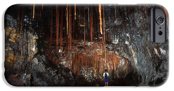 Tree Roots iPhone Cases - View Inside Kaumana Lava Tube, Hawaii iPhone Case by Gregory G. Dimijian, M.D.