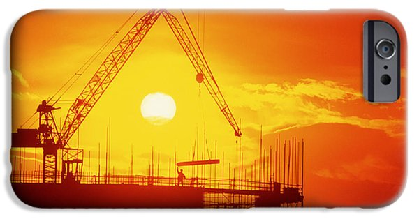 Milton Keynes iPhone Cases - View Of A Construction Site At Sunset iPhone Case by Jeremy Walker