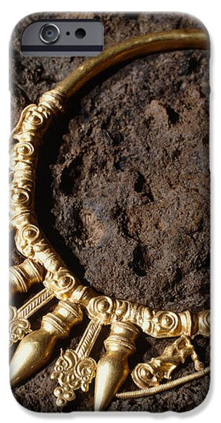 View Of A Golden Celtic Necklace During Excavation iPhone Case by Volker Steger