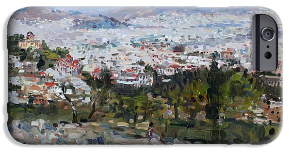 House iPhone Cases - View of Athens from Acropolis iPhone Case by Ylli Haruni