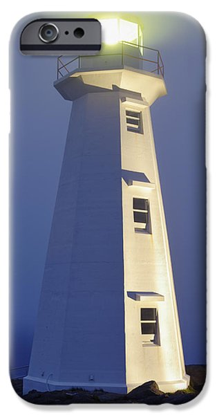Historic Site iPhone Cases - View Of Cape Spear Lighthouse In Fog iPhone Case by Yves Marcoux