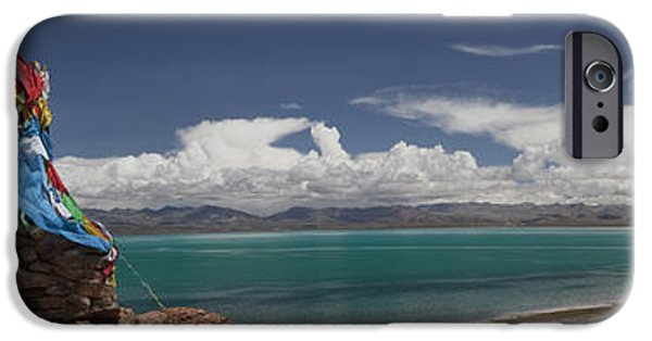 Tibetan Buddhism iPhone Cases - View Of Freshwater Lake Manasarovar iPhone Case by Phil Borges
