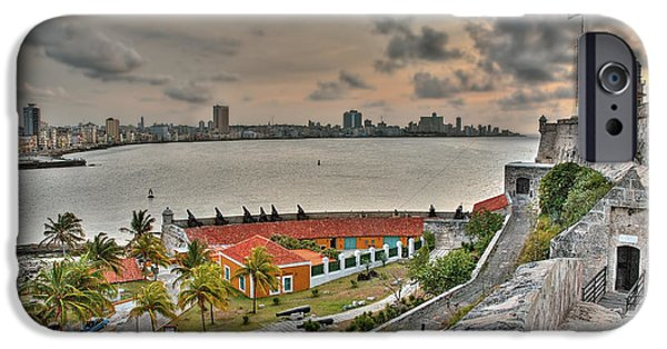 Historic Site iPhone Cases - View of Havana from Morro Castle. Cuba iPhone Case by Juan Carlos Ferro Duque