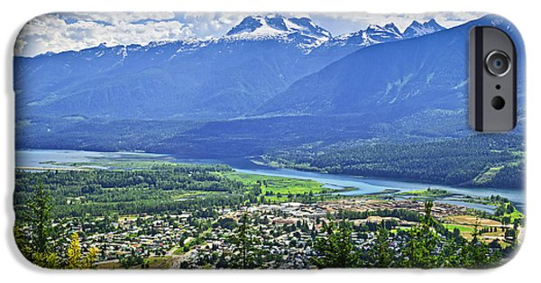 Town iPhone Cases - View of Revelstoke in British Columbia iPhone Case by Elena Elisseeva