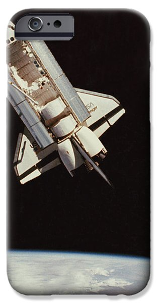Challenger iPhone Cases - View Of Space Shuttle iPhone Case by NASA / Science Source