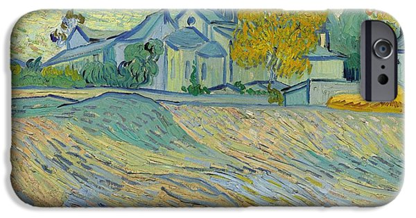 Mental Paintings iPhone Cases - View of the Asylum and Chapel at Saint Remy iPhone Case by Vincent Van Gogh