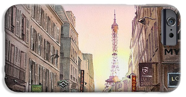 Paris Paintings iPhone Cases - View on Eiffel Tower from Rue Saint Dominique Paris France iPhone Case by Irina Sztukowski