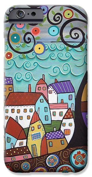Lake House iPhone Cases - Village By The Sea iPhone Case by Karla Gerard
