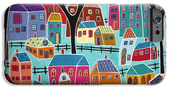 House iPhone Cases - Village Houses Trees And Birds iPhone Case by Karla Gerard