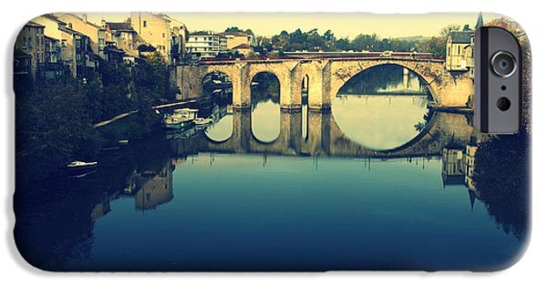 South West France iPhone Cases - Villeneuve sur Lots River iPhone Case by Nomad Art And  Design