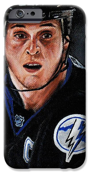 Hockey Paintings iPhone Cases - Vinny Lecavalier iPhone Case by Marlon Huynh