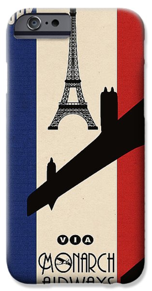 Vintage Travel iPhone Cases - Vintage Air Travel Paris iPhone Case by Cinema Photography