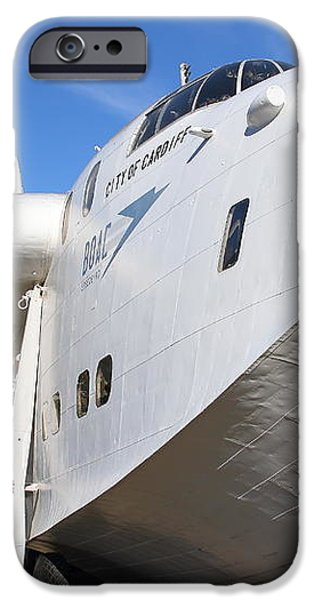 Vintage BOAC British Overseas Airways Corporation Speedbird Flying Boat . 7D11255 iPhone Case by Wingsdomain Art and Photography
