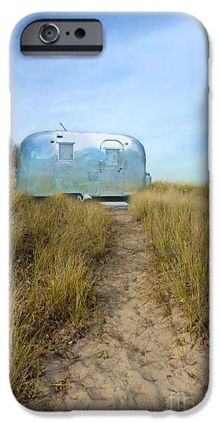 Trailers iPhone Cases - Vintage Camping Trailer Near the Sea iPhone Case by Jill Battaglia