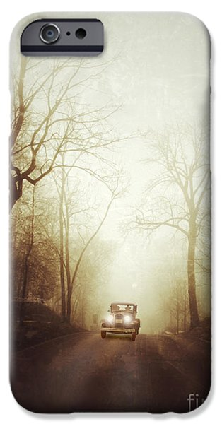 Vintage Car on Foggy Rural Road iPhone Case by Jill Battaglia