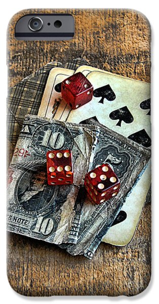 Vintage Cards Dice and Cash iPhone Case by Jill Battaglia